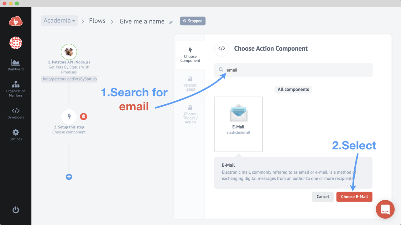 Choosing the E-mail component