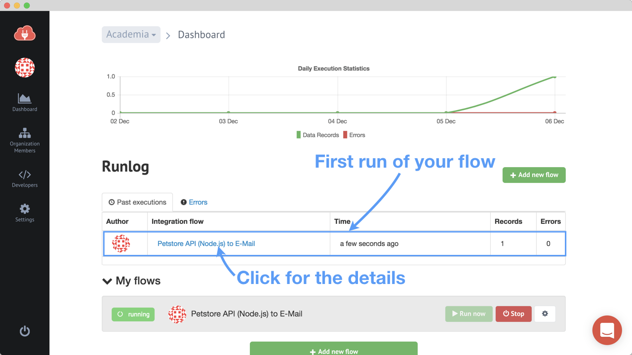 Dashboard with first execution
